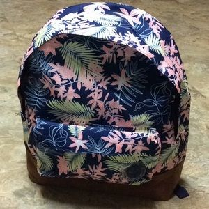 Navy pink & yellow tropical Roxy backpack NWT!